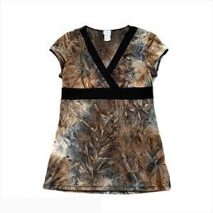 🤎2/$40🤎 SUZY Brown Tie-dye Floral Y2K Top